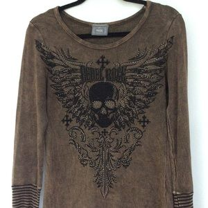 Vocal Brown Long Sleeve Top